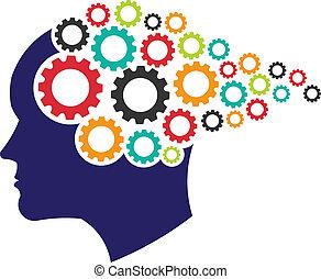 logo., pojęcie, tworzenie sieci, mózg