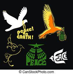 logo, pokój, ziemia