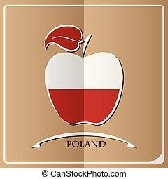 logo, pologne, fait, drapeau, pomme
