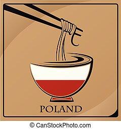 logo, pologne, nouille, drapeau, fait
