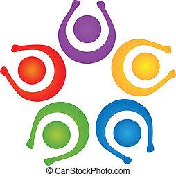 logo, poparcie, wektor, teamwork, ludzie