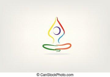 logo, pose, yoga man