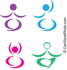 logo, poses, ensemble, yoga, illustration