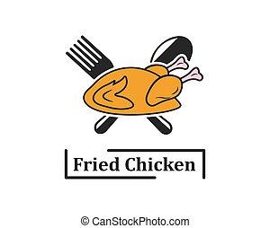 logo, poulet, frit, illustration, icône