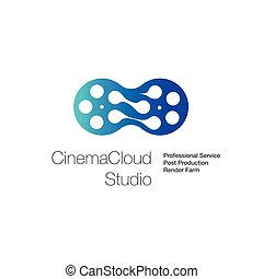 logo, pour, cinéma, nuage, studio, calculer