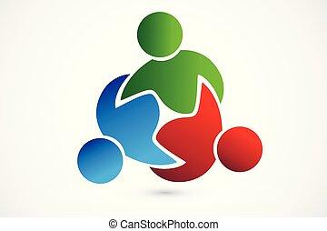logo, próba, teamwork, handlowy zaludniają