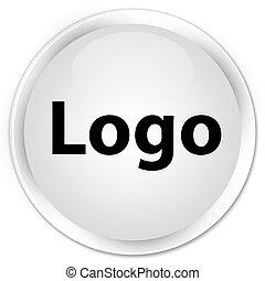 Logo premium white round button