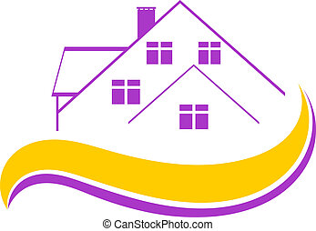 Logo private house isolated on white background. Housing. Vector