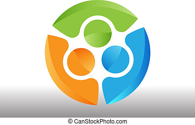 logo, procès, collaboration, gens