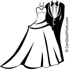logo, projektować, karta, ślub