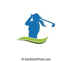 logo, projektować, szablon, golf, ludzie
