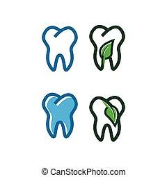 logo, projektować, szablon, ząb