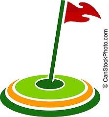 logo, projektować, tarcza, golf, ikona