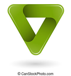 logo, projektować, trójkąt, zielony