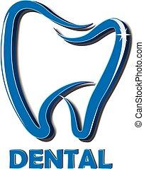 logo, projektować, ząb