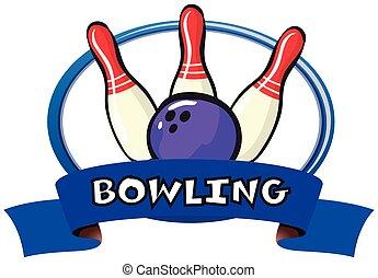 logo, projektować, z, bowling szpilki, i, piłka