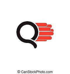 logo, prosty, ruch, q, beletrystyka, wektor, mocny
