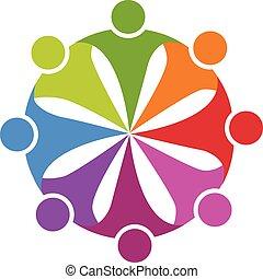 logo, przyjaźń, partia, teamwork