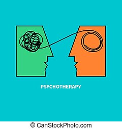 Logo psychotherapy. Two heads with confusing tangle of...