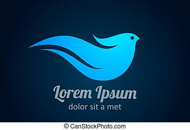 logo, ptak, abstrakcyjny