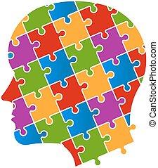 logo, puzzel, kopf, leute