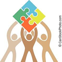 logo, puzzle, collaboration