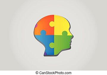 logo, puzzle, concept, tête, idées