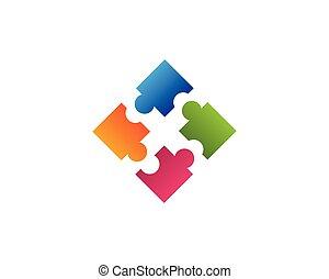 logo, puzzle, conception, business, communauté