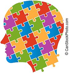 logo, puzzle, tête, gens