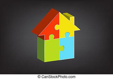 logo, puzzle, vecteur, 3d, maison