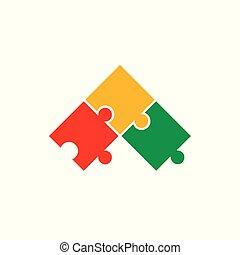 logo, puzzle, vecteur, coloré