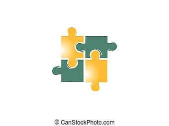 logo, puzzle, vecteur, conception, résumé