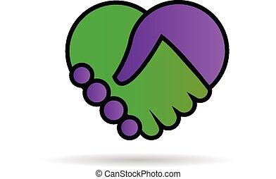 logo, räcker, skaka, älska hjärta