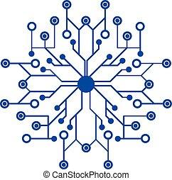logo, réseau, futuriste, icône