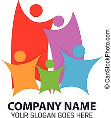 logo, résumé, coloré, famille, heureux