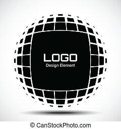 logo, résumé, halftone, concevoir élément