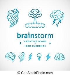logo, résumé, idée génie, gabarit, créatif