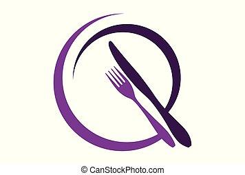 logo, résumé, restaurant, conception, icône