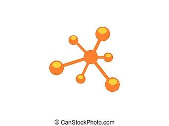 logo, résumé, vecteur, molecul, atome