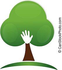 logo, ręka, drzewo, ludzie