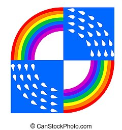 logo rainbow raindrops blue square on a white isolated background. Vector image
