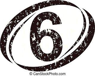 logo, rauh, zählen 6
