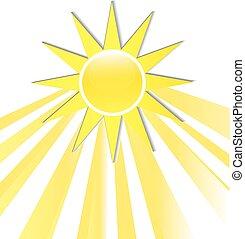 logo, rayons, icône, soleil
