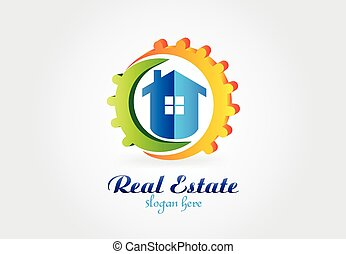 Logo real estate house and gears