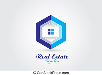 Logo real estate house vector