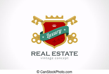 Logo Real Estate Vintage Luxury. Keys and shield with ribbon.