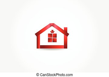 Logo red house gift icon vector
