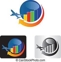 logo, reizen, zakelijk