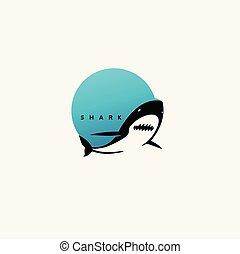 logo, requin, minimal, design.