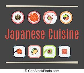 logo, restauracja, japończyk, szablon, kuchnia